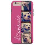 Instagram Photo Display - 4 photos pink name Tough iPhone 6 Plus Case