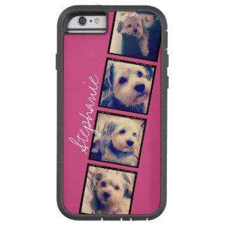 Instagram Photo Display - 4 photos pink name Tough Xtreme iPhone 6 Case