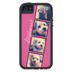 Instagram Photo Display - 4 photos pink name Case For iPhone SE/5/5s at Zazzle