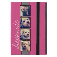 Instagram Photo Display - 4 photos pink name iPad Mini Covers at Zazzle