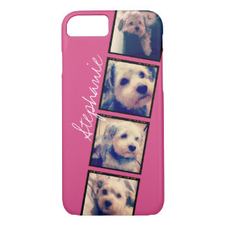 Instagram Photo Display - 4 photos pink name iPhone 7 Case
