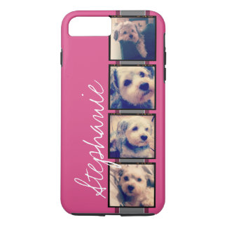 Instagram Photo Display - 4 photos pink name iPhone 7 Plus Case