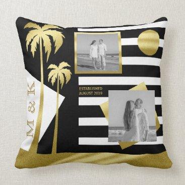 Beach Themed Instagram Photo Monogram Gold Beach Black Stripes Throw Pillow