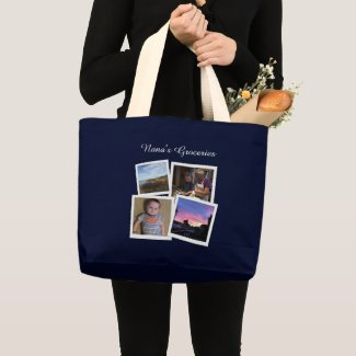 Instagram Photo Navy Blue Large Large Tote Bag Gift ideas for new Grandmas