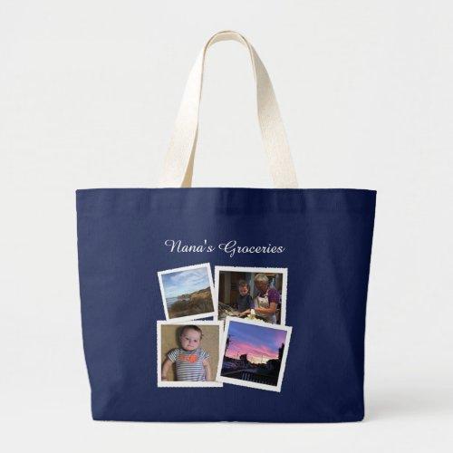 Instagram Photo Navy Blue Large Large Tote Bag