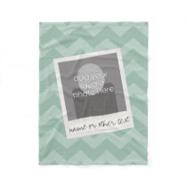 Instagram Photo Retro frame Custom Text Mint Green Fleece Blanket