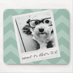 Instagram Photo Retro Frame Custom Text Mint Green Mouse Pad at Zazzle