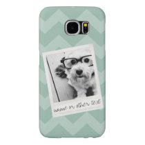Instagram Photo Retro frame Custom Text Mint Green Samsung Galaxy S6 Case