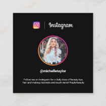 Instagram photo trendy social media modern black calling card