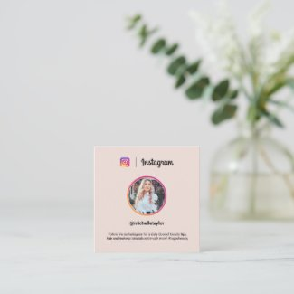 Instagram photo trendy social media modern pink calling card