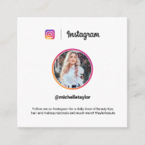 Instagram photo trendy social media modern white calling card