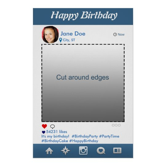 Instagram PhotoBooth Party Prop Frame for Birthday Poster | Zazzle.com