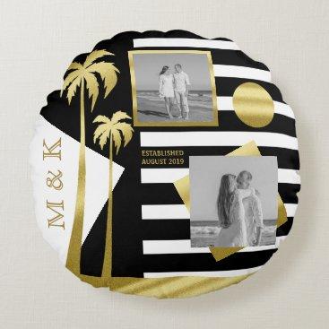Beach Themed Instagram Photos Monogram Gold Beach Black Stripes Round Pillow