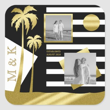 Beach Themed Instagram Photos Monogram Gold Beach Black Stripes Square Sticker
