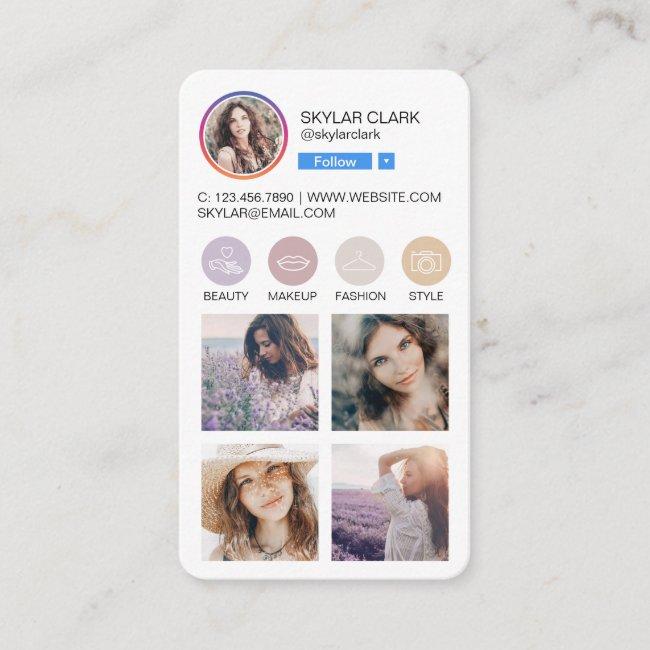 Instagram Social Media Follow Profile Photo Grid Business Card
