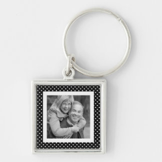 Instagram Square Photo BW Polka Dot Frame Silver-Colored Square Keychain