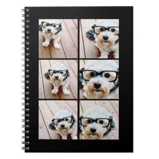 Instagram Square Photo Collage - Black Notebook