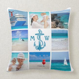 Instagram Vintage Anchor Marine Photo Grid Collage Throw Pillow