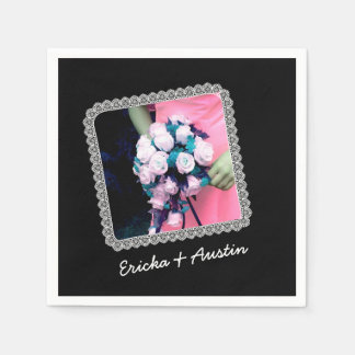 Instagram Wedding Photo Black with Lace Frame B11 Standard Cocktail Napkin