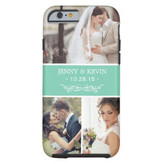 Instagram Wedding Photo Collage Chic Teal Green Tough iPhone 6 Case