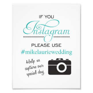 Instagram Wedding Poster Sign - Aqua Blue Photo Print