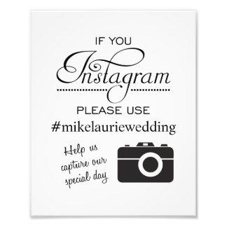 Instagram Wedding Poster Sign - Black Photo
