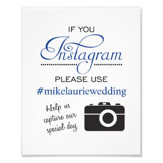 Instagram Wedding Poster Sign - Navy Blue Photo Print