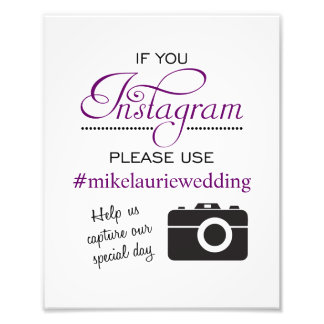 Instagram Wedding Poster Sign - Plum Purple Photographic Print