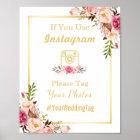 Instagram Wedding Sign | Elegant Chic Floral Gold