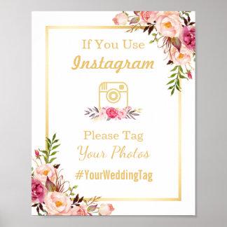 Instagram Wedding Sign | Elegant Chic Floral Gold Poster