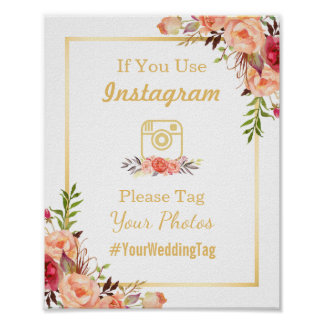 Instagram Wedding Sign | Rustic Gold Orange Floral