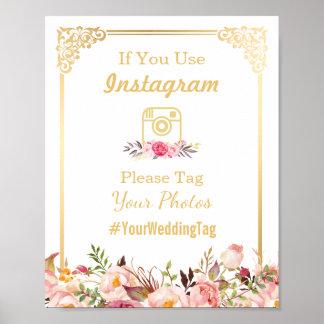 Instagram Wedding Sign | Vintage Gold Frame Floral