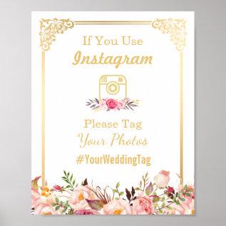 Instagram Wedding Sign | Vintage Gold Frame Floral Poster at Zazzle