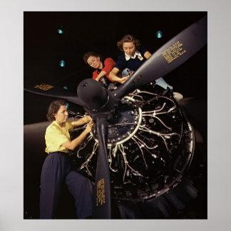 Instalación 1942 del motor de avión póster