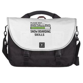 Instalación de habilidades del embarque de la bolsas para portátil