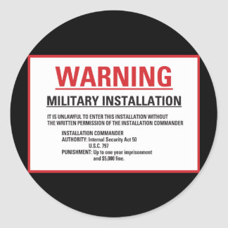 Instalación militar del área 51 amonestadores pegatina redonda