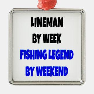 Instalador de líneas de la leyenda de la pesca adorno cuadrado plateado