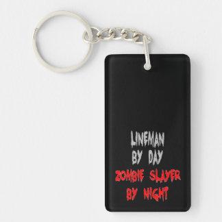 Instalador de líneas del asesino del zombi llavero rectangular acrílico a doble cara