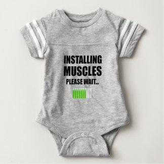 Installing Muscles Please Wait Baby Bodysuit
