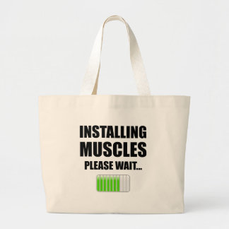 Installing Muscles Please Wait Large Tote Bag