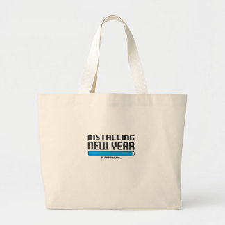 installing new year large tote bag