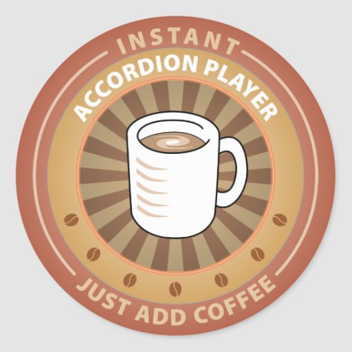 Instant Accordion Player Classic Round Sticker