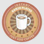 Instant Banjo Player Classic Round Sticker