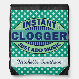 Instant Clogger Just Add Music Teal Custom Drawstring Backpack
