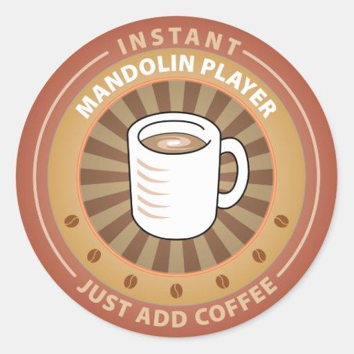 Instant Mandolin Player Round Stickers
