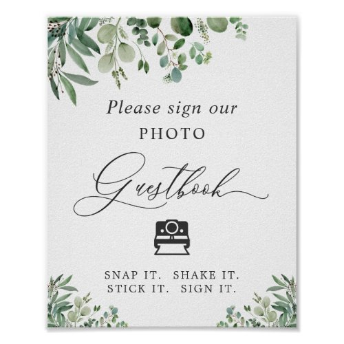 Instant Photo Guestbook Sign Greenery Eucalyptus