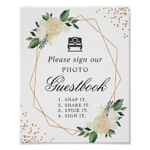 Instant Photo Guestbook Sign Ivory Green Floral
