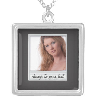 instant photo - photoframe - on black square pendant necklace