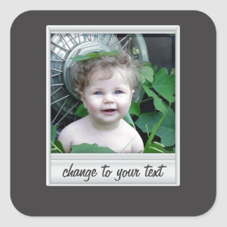 instant photo - photoframe - on black square sticker