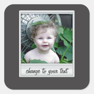 instant photo - photoframe - on black square sticker
